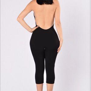 Black, backless jumpsuit